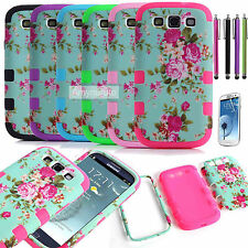 Hard Soft Rubber Hybrid Impact Phone Case Cover For Samsung Galaxy S3 III Flower