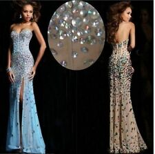 2014 Long Rhinestone Prom Formal Party Ball Evening Pageant Dresses Wedding Gown