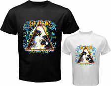 New DEF LEPPARD *HYSTERIA Rock Band Logo Men's White Black T-Shirt Size S to 3XL