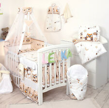 BROWN BOY/ GIRL SET COT &COT BED 3,4,5,7 PCS PILLOW, DUVET,BUMPER CANOPY /HOLDER