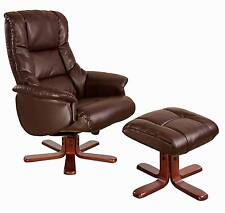 NEW Luxury Shanghai Bonded Leather Swivel Recliner Chair and Footstool
