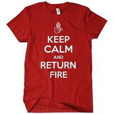 Womens KEEP CALM AND RETURN FIRE T-Shirt Tee Guns 2nd Amendment Rights Bear Arms