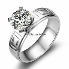 6mm Stainless Steel White Round Cubic Zirconia Solitaire Wedding Engagement Ring