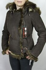 Women Mocha Brown Suede Shearling Sheepskin Leather Pilot Hood Jacket Coat XS-3X