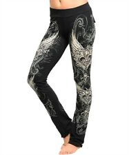 Sexy Crystals Stones Fleur De Lis Yoga Comfy Workout Tall Black Pants S M L