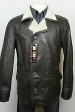 New Men Double-Breasted Peacoat Shearling Leather Sheepskin Jacket Coat S-6XL