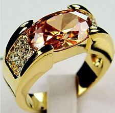 Islamic Exquisite Men Jewelry Champagne Topaz 10KT Yellow Gold Rings Ramadan EID