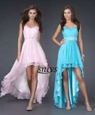 Stock Pink/Blue high low Bridesmaid Prom Ball Evening Dress Size6-8-10-12-14-16