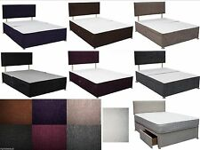 CASPIAN 4FT6 DOUBLE DIVAN BED with DRAWERS STORAGE & HEADBOARD - MATTRESS OPTION