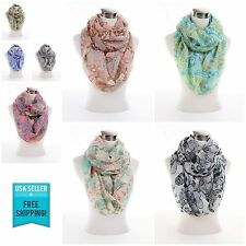 New Floral Flower print pattern large light weight infinity scarf scarves G3