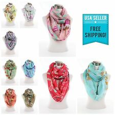 New Floral Flower print pattern large light weight infinity scarf scarves G4