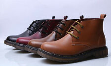 new mens casual fashion lace up leather chukka Motorcycle ankle Boot Shoes
