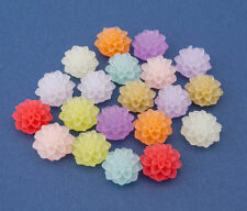 10 Pairs Frosted Resin Chrysanthemum Flower Cabochons - 15mm or 20mm