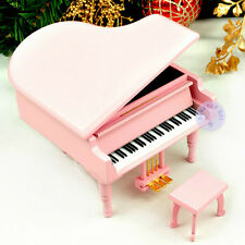 Wooden Sankyo Piano Wind up Music Box with over 30 Melodies Choice (Pink Color)
