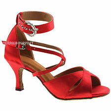 TPS Red Satin Latin Ballroom Salsa Custom-made Dance Shoes All Size D996
