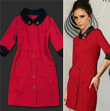 Get The Posh Celebrity Victoria Style Red Black Women Dress S-XL