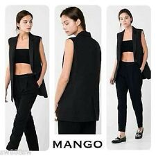 £60 Mango Black Linen Sleeveless Tailored Button Gilet Jacket Blazer Zara Coat