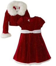 NEW Bonnie Jean Girl Velvet Red Christmas Santa Dress Jacket Set Outfit SZ 7