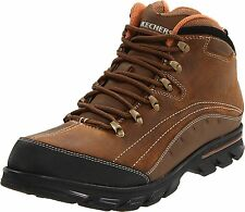 MENS SKECHERS RUBICON LEATHER LACE-UP CHUKKA ANKLE BOOTS Brown