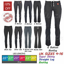 Grey Ladies Trousers Women Stretch Hipster Plain Office Smart Petite Miss Chief