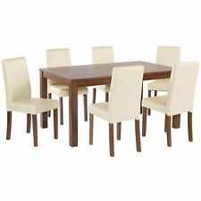 American Walnut Dining Table and Chair Set with 4/6 Seat | Black Brown Red Cream