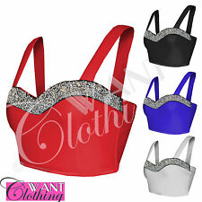 NEW WOMENS JEWEL TOP STRAP CROP BRA TOPS LADIES STRAP BOOBTUBE PARTY CORSET FIT