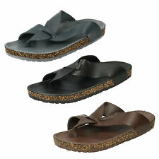 Mens Footbed Toepost Sandals with Cork Effect - A0034