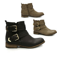 WOMENS LADIES FLAT WORKER ELASTIC DOULBE BUCKLE STRPAS OFFICE CHELEAS BOOTS I