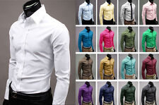 Fashion Luxury men's long sleeve Formal Casual Suits Slim Fit Blouse Dress Shirt