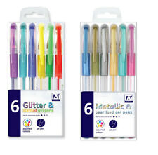 Gel Pens GREEN BLACK SILVER GOLD RED GLITTER METALLIC COLOUR SCENTED PEN SET