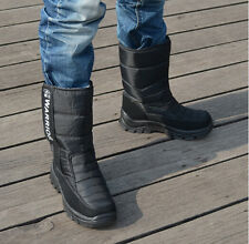 Wholesale Winter Mens Warm Snow High Top Fur Lined Velcro Shoes Waterproof Boots