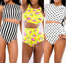Sexy Womens Tankinis Set High Waist Crop Shorts Bikini Striped Swimsuit Swimwear