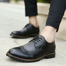 Men's Casual Leather Pointed Lace Up Loafers Dress Shoes Oxfords Brogues H609