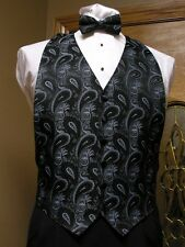 Vest Blue / Black Paisley Bow Tie Tuxedo Western Steampunk Groom Formal Party