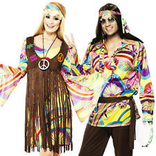 1960s Psychedelic Adults Fancy Dress Groovy Hippie Mens Ladies Costumes Outfits