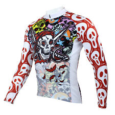 Mens Long Sleeve Bike Bicycle Wear Rider Cycling Jersey Halloween Pirate Skull