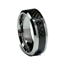 Cool Fashion Men's 8mm Tungsten Inlay Carbon Fiber Wedding Band Ring Size 9-12