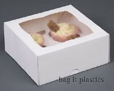CUPCAKE BOXES WHITE CARDBOARD WITH WINDOW REMOVABLE INSERTS 1 2 4 6 12 CAKE BOX