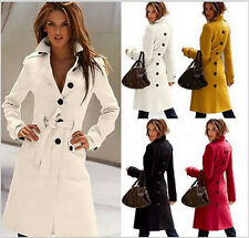 NEW Women's Wool Blend Military Trench Coat Belted Long Coat Jacket