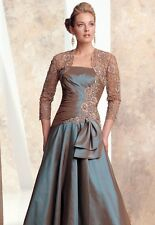 Montage Mon Cheri 26920 Aqua Evening Dress Ball Gown 2-pc Size 12 New NWT Taupe