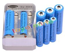 4x AA 3000mAh + 4x AAA 1800mAh 1.2V Ni-MH Blue Rechargeable Battery +Charger
