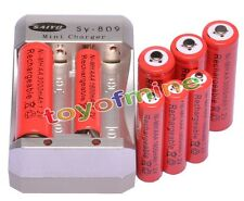 4x AA 3000mAh + 4x AAA 1800mAh 1.2V Ni-MH Red Rechargeable Battery +Charger