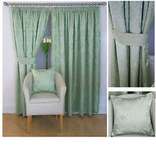 "Sunflower luxury jacquard 3"" tape top lined curtains - Green ON SALE NOW 50% OFF"