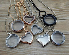 Living Memory Floating Charm Glass Round /Heart Locket Pendant Necklace Charm