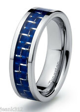 Tungsten Carbide Mens Wedding Band Ring 7mm Modern with Blue Carbon Fiber Inlay