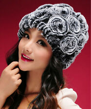 New Real Rex Rabbit Fur Hat Thick Wool Cap Fur Flower Headgear Winter Women