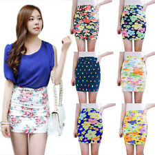 Casual Ladies Waisted Dress Floral Bodycon Pencil Tight Slim Stretch Mini Skirt