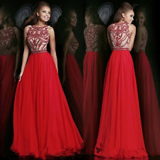 New Red Boat Neck Long Pageant Evening Prom Ball Bridal Party Gown Wedding Dress