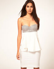 New Aqua Portman Strapless Bodice and Peplum Dress in Cream rrp £150