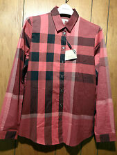 NWT Authentic Burberry Brit Womens Classic Check Pattern Military Red Shirt